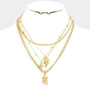 Jewelry - ANGEL RHINESTONE CROSS JESUS PENDANTS NECKLACE